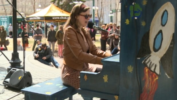Edmonton singer and musician Colleen Brown helped launch the piano project by performing a song on Friday.