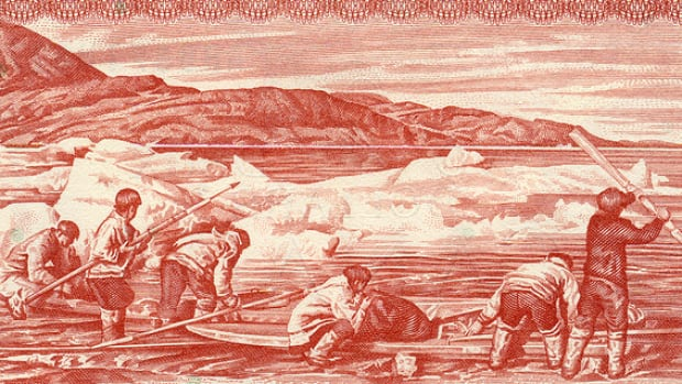 Circulated between 1974 and 1979, the two-dollar bill features Joseph Idlout and his relatives preparing their kayaks for a hunt.