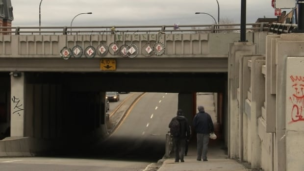 Montreal's underpasses are being called a threat to both cyclists and pedestrians, namely women walking alone along their darkened elevated walkways.