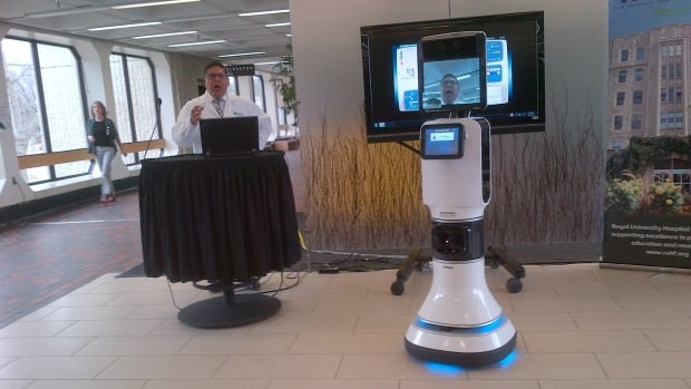 "Dr. Ivar Mendez introduces robot ""Patrick"" at Royal University Hospital."