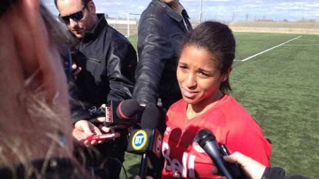 Desiree Scott, midfielder for Canada's national women's soccer team, is excited to face the rival American team, but said there's added pressure to playing in front of friends, family and former teammates in her home city of Winnipeg.