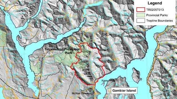 One of the traplines is on the north side of Howe Sound, just north of Vancouver.