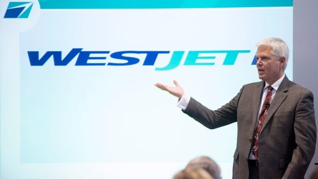Gregg Saretsky, president and CEO of WestJet Airlines, speaks at the company's annual general meeting of shareholders in Toronto on Tuesday.