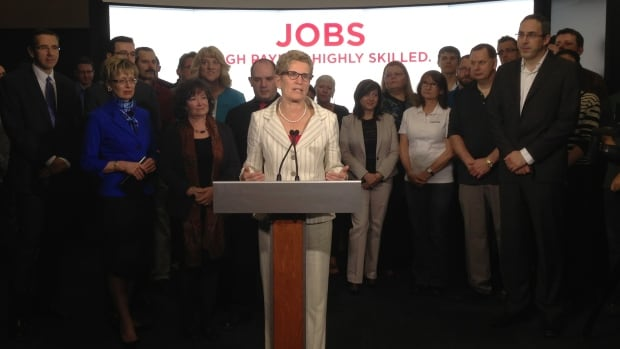 Ontario Liberal Leader Kathleen Wynne is seen in Kitchener, Ont., on Wednesday, on the first official day of the election campaign.