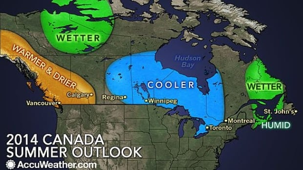 Western Canada is expected to be warm and dry this summer, while Central Canada will be cooler than normal, and the Maritimes have higher humidity.