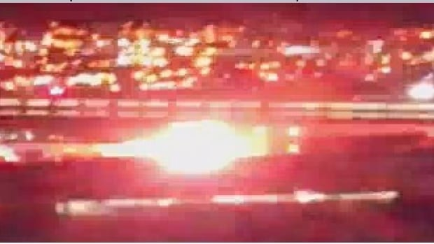 This still image from a video captured by Instagram user @tragic_inc shows a fireball after multiple explosions at a propane filling facility in Brampton, Ont., on Wednesday night.