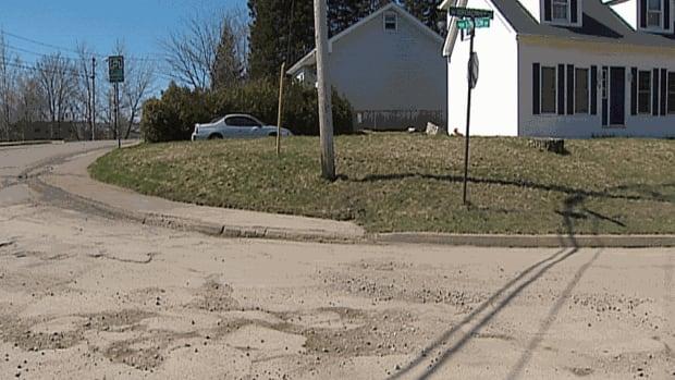 Potholes on Broadway Avenue in Saint John
