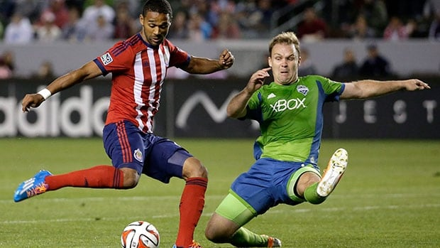 Forward Luke Moore, left, made six appearances, starting in two matches in MLS league play this season for Chivas USA.