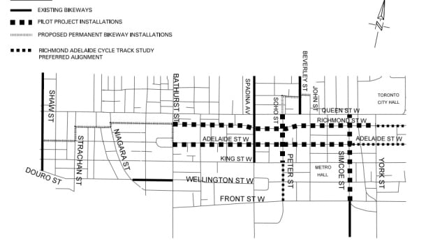 The proposed bike lanes will be installed on Richmond and Adelaide going opposite directions, with additional bike lanes joining them together.