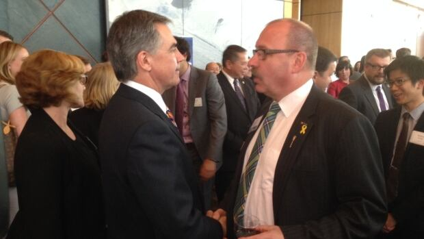 Jim Prentice, left, and Ric McIver are both set to run for the leadership of Alberta's Progressive Conservatives. Ken Hughes, not pictured, is the only other candidate to put his name forward.