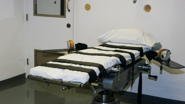 The gurney in the execution chamber at the Oklahoma State Penitentiary in McAlester, Okla., where the execution of Clayton Lockett failed April 29. Fellow inmate Charles Warner's execution has been delayed while the failure is investigated.