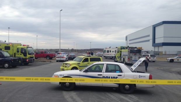 Emergency personnel were out in force at the Bombardier plant in Mirabel Friday morning after police received a call about a suspicious package.