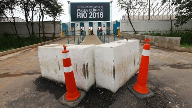 Barricades and pylons mark the entrance to Olympic Park, the primary locale for sports venues for the 2016 Rio Olympic Games.