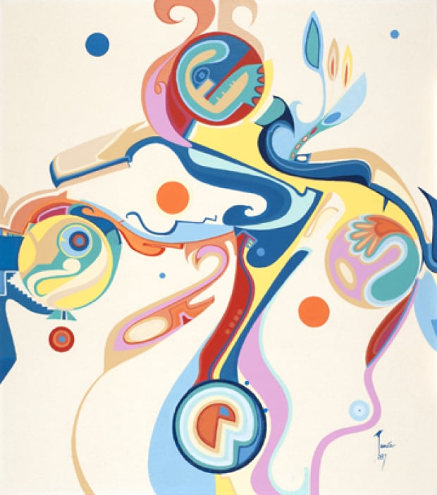 Alex Janvier. The Four Seasons of '76, 1977. Acrylic on masonite. Courtesy of Janvier Gallery. Photo