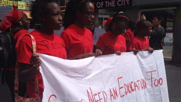 Demonstrators in Toronto protest the Nigerian government's lack of action finding its kidnapped schoolgirls.