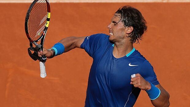 Rafael Nadal celebrates his victory in his semifinal match against Roberto Bautista Agut in Madrid, Spain, Saturday.