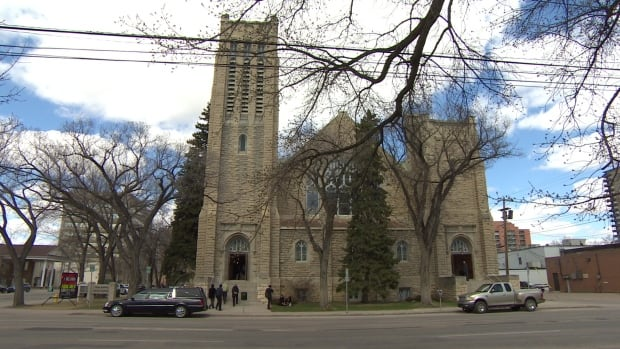 People enter Third Avenue United church on Saturday for Sarah Wensley's funeral.