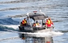 Slocan Lake canoe accident - search and rescue boat