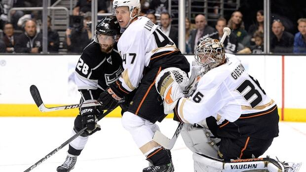 Kings forward Marian Gaborik, not shown, says his team must create traffic and get more pucks to the net against rookie Ducks goalie John Gibson, right, in Game 5 on Monday. Gibson, making his NHL playoff debut on Saturday, posted a 28-save shutout.