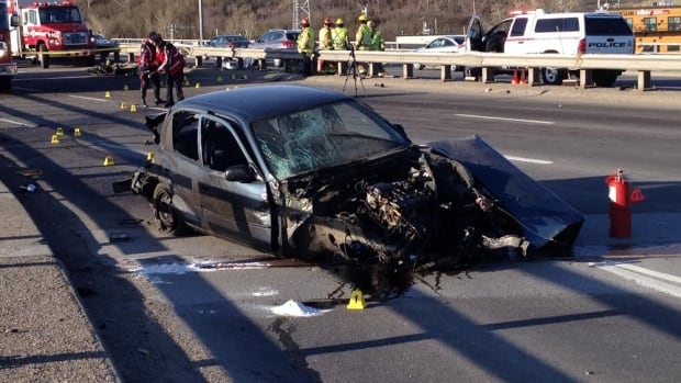 A collision on Crowchild Trail early Monday morning shut down all northbound traffic on the busy route over the Bow River.