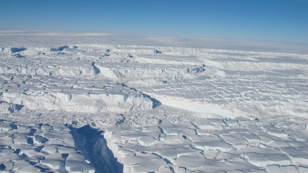 This is a photo of the melting Thwaites ice shelf in Antarctica taken during an October 2013  aerial survey.