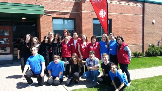 CBC Montreal Do Crew members gather with West Island College students and members of WIAIH (West Island Association for the Intellectually Handicapped) following the midday performance, May 11, 2014.