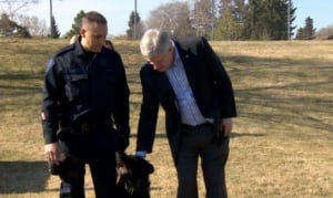 Prime Minister Harper with police dog