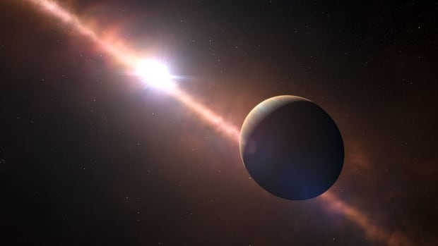 Beta Pictoris b, seen in an artist's impression, is several times larger than Jupiter and located slightly closer to its star than Saturn is to the sun.