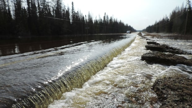 Sections of Highway 101 near Foleyet, east of Timmins, are washed out due to high water levels. Crews are working on repairs.