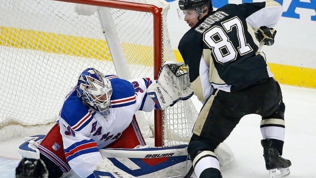 Click on this image to watch game 7 of the playoff series between the Pittsburgh Penguins and New York Rangers starting at 7:00 p.m.. Rangers goalie Henrik Lundqvist has been fined $5,000 US after he sprayed the Penguins' Sidney Crosby with water while Crosby was down on the ice in Game 6 on Sunday night.