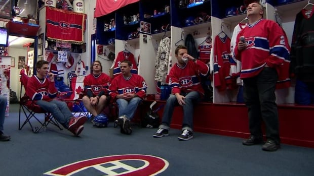 Fans glued to the screen in the Western Canadian Montreal Canadiens Fans clubhouse for Game 6 Monday.