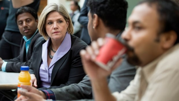 Ontario NDP Leader Andrea Horwath meets with people at the Malvern Town Centre food court in Toronto on Tuesday, May 13, 2014. Ontario goes to the polls June 12.