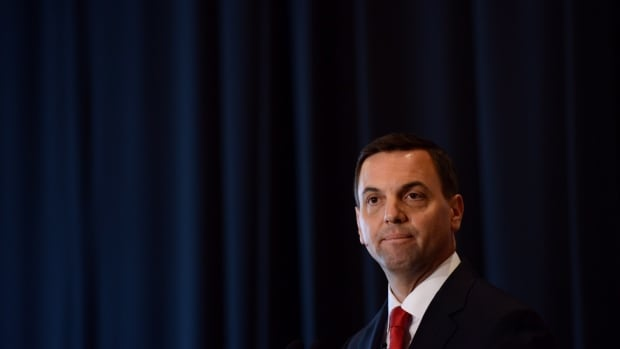 Ontario PC Leader Tim Hudak delivers a speech at the Chateau Laurier during an election campaign stop in Ottawa on Tuesday, May 13, 2014. Ontario goes to the polls June 12th.