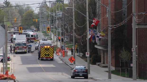 Firefighters and police responded to a emergency call around noon on Tuesday following an ammonia leak at a Maple Leaf Foods' plant on Courtland Avenue in Kitchener.