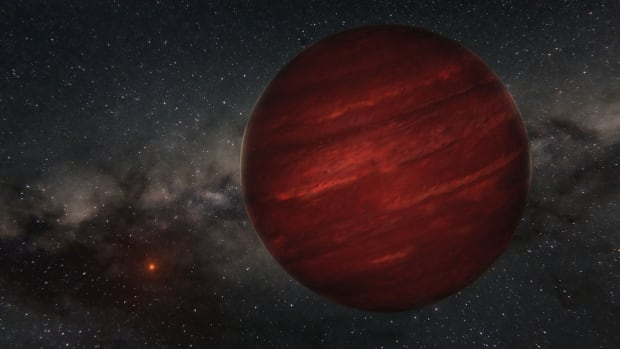 The planet GU Psc b, seen in an artist's conception, is about 10 times bigger than Jupiter, and is located about 50 times farther away from its star than the dwarf planet Pluto is from the sun.