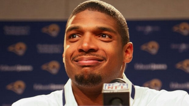 St. Louis draft pick Michael Sam addresses the media during a press conference at Rams Park on Tuesday.