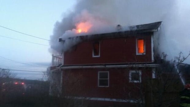 A two-storey house was destroyed by fire on Tuesday night.