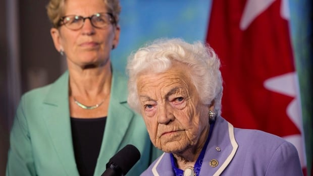 Ontario Liberal Leader Kathleen Wynne, left, picked up an endorsement from Mississauga Mayor Hazel McCallion on Wednesday. McCallion said a minority government would be bad for the province.