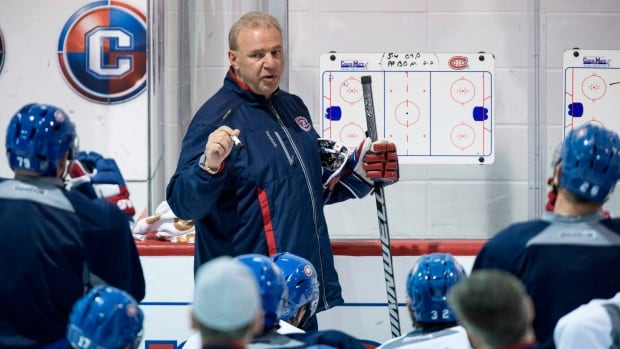 Montreal Canadiens head coach Michel Therrien gives instructions during a practice earlier in the playoffs.