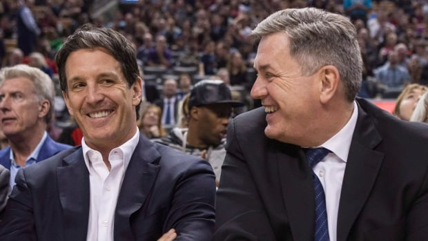 Toronto Maple Leafs president Brendan Shanahan (left) shares a laugh with Maple Leaf Sports and Entertainment CEO Tim Leiweke not long after being hired last month.