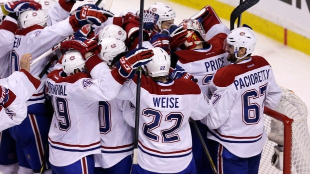The Montreal Canadiens celebrates their Game 7 victory over the Boston Bruins Wednesday night.