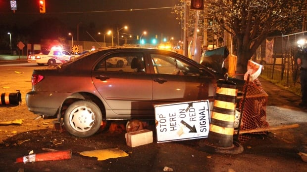 Police say the suspected impaired driver was taken to hospital early Thursday morning.
