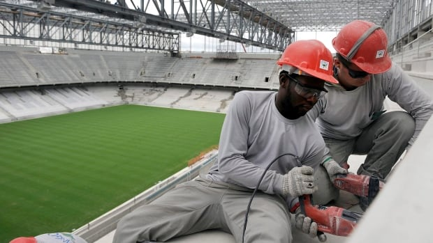 Work continues on Arena da Baixada in Curitiba, Brazil. The southern Brazilian city will host matches during this year's World Cup despite serious problems in the renovation.
