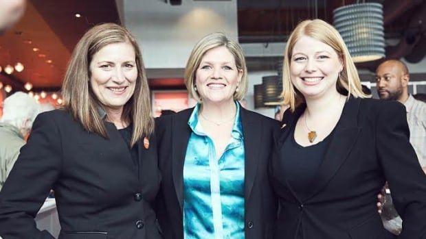 Alex Johnstone, NDP candidate for Ancaster-Dundas-Flamborough-Westdale, is a unique candidate. She is one of two candidates whose moms are also running in the June 12 election. From left to right: Jan Johnstone, NDP leader Andrea Horwath and Alex Johnstone.