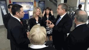 Premier David Alward at the Dealermine job announcement in Saint John