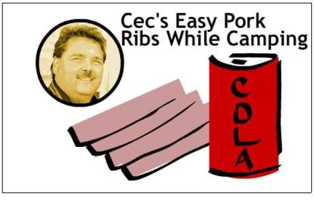 Cec's easy pork ribs while camping
