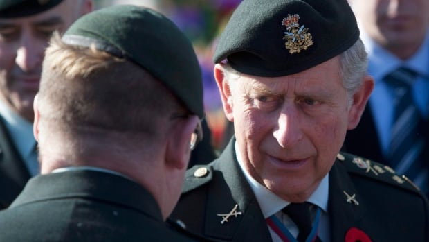 Prince Charles, shown speaking with a Canadian Afghanistan veteran following Remembrance Day ceremonies in Ottawa on Nov. 11, 2009, has a longstanding interest in military issues.