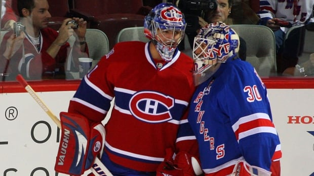 Canadiens goalie Carey Price, left, completed a majestic Olympics as he allowed only three goals at the Winter Games in February and backstopped Canada to a 3-0 victory over the Rangers' Henrik Lundqvist, right, and Sweden in the final to claim gold. They meet again in the NHL Eastern Conference final.