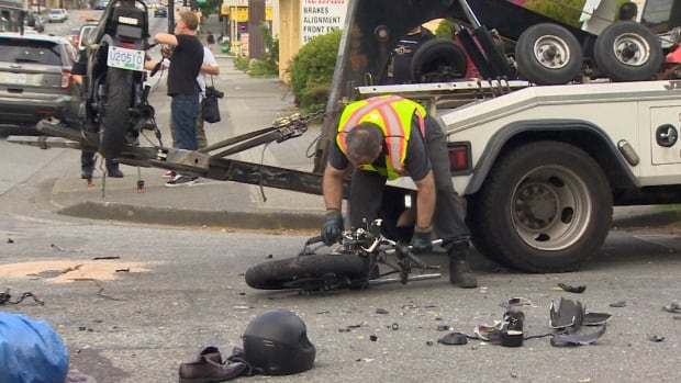 The force of the collision sheared off the motorcycle's handlebars and front wheel.