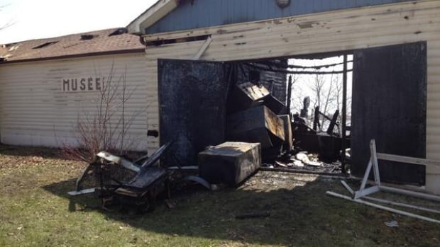 The museum in St. Georges, Man., was heavily damaged by a fire that broke out early Saturday morning.
